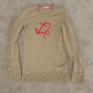Lilly Pulitzer Tan Pink Anchor Wool Sweater XS